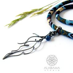 CHRISTMAS IN JULY  Etno feather  oxidised silver by AlabamaStudio