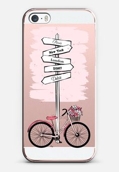 Pink Bike Travels iPhone SE case by MPillustration | Casetify