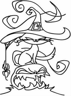 """iColor """"Halloween II"""" A Spooky Cat with crunkled whiskers and a spider hanging on her hat...must have been fun!"""