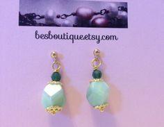 Soft Green CZECH GLASS Beaded Earrings  drop by besboutique, $11.00