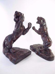 Vintage Bronze Copper Tiger Bookends *