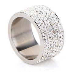 Moda Al Por Mayor shining completo rhinestone anillo para mujer y hombre de plata chapado en oro de acero inoxidable Joyas de Cristal