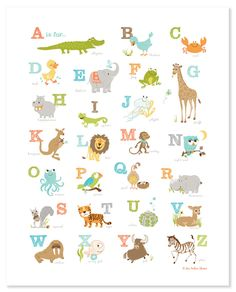 Alligator to Zebra Alphabet Poster (16x20 ). $24.99, via Etsy, SeaUrchinStudio