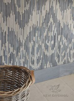 Weft, a handmade jewel glass mosaic shown in Quartz and Pearl, is part of the Ikat Collection by New Ravenna. Mosaic Glass, Mosaic Tiles, Ravenna Mosaics, Tile Accent Wall, New Ravenna, Black Tiles, Ikat, Quartz, Jewels