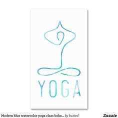 Modern blue watercolor yoga class bohemian namaste business card