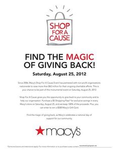 Like to shop? At Macy's? Well we have great news for you!    Buy a $5.00 shopping pass to use on Sat. August 25th only and get up to 25% off your purchase. We get to keep 100% of that $5.00 for Al Maun Fund programs! Your pass will be emailed to you or can be mailed to your home address.    Read more here  http://almaunfund.org/3/30/macy-s-shopping-pass