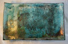 Handmade raku plate with metallic shimmer by artGekko on Etsy, kr350.00