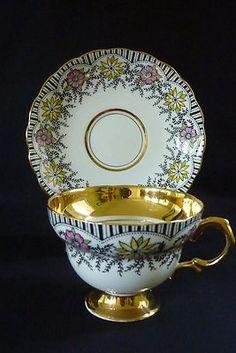 Scalloped Gold Black Ticking Stripe Floral Tea Cup Saucer Rosina Bone China
