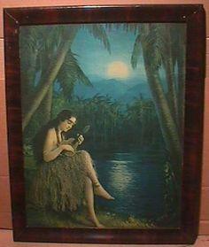 L Goddard Ingerle Print Fantasy Hawaiian Island Maiden 1920s LG 22 x 18 |