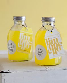 Foodie Gifts: homemade limoncello in cute bottle with tag