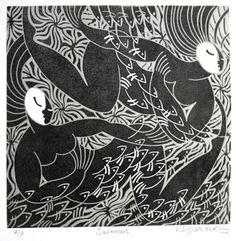 Swimmers ~ Linocut by Elizabeth Rashley