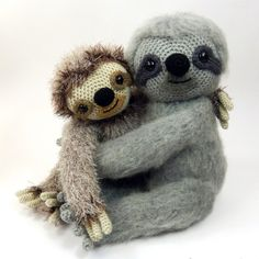 Crochet Dolls Designs Slocombe the sloth amigurumi crochet pattern by Moji-Moji Design Crochet Sloth, Crochet Amigurumi, Cute Crochet, Crochet Animals, Crochet For Kids, Crochet Dolls, Crochet Yarn, Easy Crochet, Crochet Toys Patterns