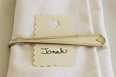Happy At Home --  DIY vintage silver spoons turned into napkin rings.