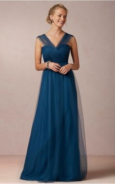 Chiffon V-neck Natural A-line Floor-length Bridesmaid Dresses 0740674