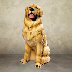"""Golden Retriever Dog Sculpture-This Golden Retriever is 26.5 inches high.  Beautiful ceramic sculpture hand made in Italy by skilled artisans.  Rich in detail and color.  Colors and patterns may vary slightly.  Ships FREE in continental USA Dimensions:  26.5""""H Material:  Fine Italian Ceramic Shipping Dimensions: 35""""L 35""""W 30""""H Recommended for Indoor use Made in Italy. Item # 11001 Price: $330.00"""