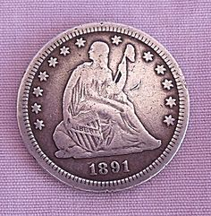 1891  SEATED LIBERTY QUARTER F DETAILS Half Dollar, Liberty, Coins, Money, Personalized Items, Detail, Antiques, Stop It, Antiquities