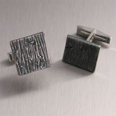 Redwood Collection – Oxidized Sterling Silver Men's Handmade Cufflinks by jewelry designer John S Brana