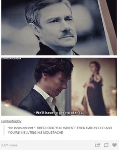 Correct me if I'm wrong, but Sherlock's just behaving as the fandom behaved the first time WE saw John's mustache! Trololololol