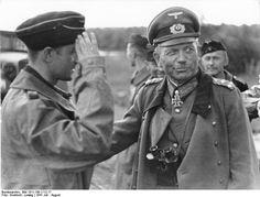 "Generaloberst Heinz Guderian, ""Father of Blitzkrieg"", speaking to tank troops, Poland 1939."