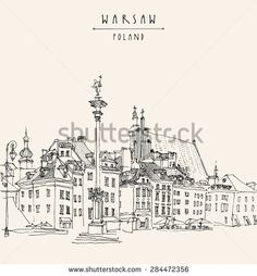 View of Castle Square in old center of Warsaw, Poland. Historical buildings line art. Vector drawing with a pen and pencils on paper. Travel sketch, hand lettering. Monochrome postcard  template