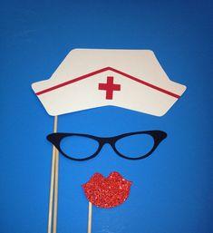 Photo Booth Props - sombrero de la enfermera - Fotomatón 3 Piece Set