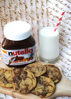 Peanut Butter Nutella Cookies this will get some brownie points with somebody I know!