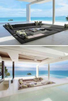 15 Outdoor Seating Areas Built For Entertaining : 15 Outdoor Conversation Pits Built For Entertaining // This outdoor conversation pit is surrounded by both an infinity pool and the ocean to allow for complete and utter blissful relaxation. Dream Home Design, Modern House Design, My Dream Home, Pool House Decor, Conversation Pit, Terrasse Design, Patio Design, Sunken Living Room, Luxury Homes Dream Houses