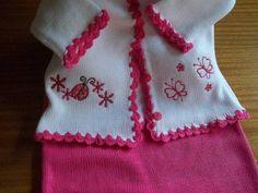 saloprte em tricô a maquina bordada com acabamento em crochê casaco bordada com acabamento em crochê fio termico faço P M G
