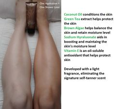 Younique's Sunless Tanner Ingredients. YES! These are MY legs! More questions? Shoot me a message!