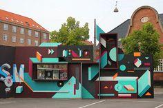 street art work by in Göteborg, Sweden Feature Wall Design, Space Shows, 2d Design, Graphic Design, Pop Up Shops, Environmental Design, Public Art, Retail Design, Graffiti Art