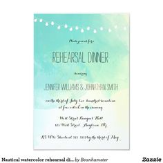 Nautical watercolor rehearsal dinner invitations High quality invitations.