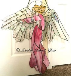 Stained Glass Panel Angel of Light by DobbyGlass on Etsy