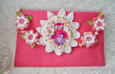 Clutch Purse with crocheted flowers and embroidery by irinacarmen, $43.00