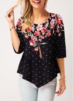 Asymmetric Hem Polka Dot Print Black T Shirt | modlily.com - USD $26.54
