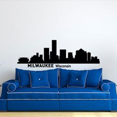 Milwaukee Skyline Wall Decal Cityscape City by FabWallDecals