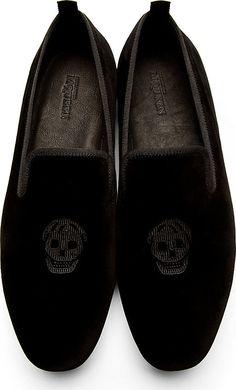 Alexander Mcqueen: Black Velvet Embroidered Skull Loafers