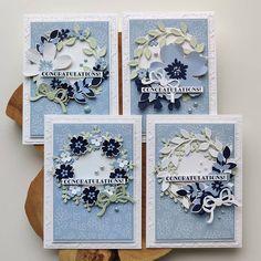 """Berdien Weideveld on Instagram: """"Vier keer dezelfde lay-out, vier verschillende kaartjes. De bloemen zijn geknipt uit het Paper Blooms designer series paper.…"""" Scrapbook Paper Crafts, Scrapbook Cards, Scrapbooking, Wondrous Wreath, Stampin Up Karten, 50th Birthday Cards, Stamping Up Cards, Congratulations Card, Card Sketches"""