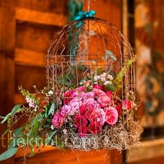 birdcages, candles, fall flowers www.classicdiybride.blogspot.com