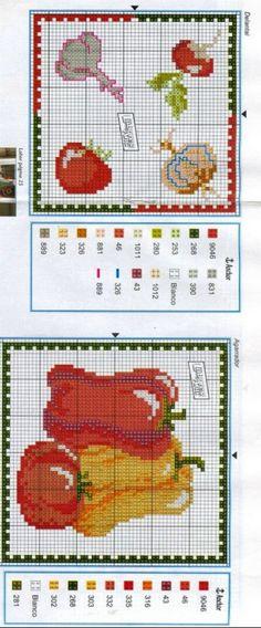 Gallery.ru / Фото #83 - Labores de Ana 124 - simplehard Cross Stitch Patterns, Diy And Crafts, Croissant, Bella, Charts, Vegetables, Cross Stitch Borders, Arrows, Punto Cruz