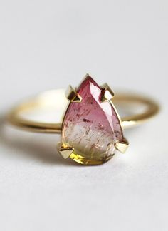 A watermelon tourmaline ring featuring what look like suspended magical particles. 31 Gorgeous Non-Diamond Engagement Rings You'll Totally Fall For Non Diamond Engagement Rings, Engagement Ring Buying Guide, Beautiful Engagement Rings, Diamond Rings, Diamond Jewelry, Gemstone Rings, Alternative Engagement Rings, Solitaire Engagement, Black Diamond