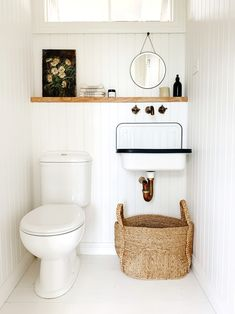 Small downstairs loo / guest bathroom with white washed wood panel walls/ Courtn. - Small downstairs loo / guest bathroom with white washed wood panel walls/ Courtney Adamo - Interior, Bathroom Farmhouse Style, Bathroom Styling, Tiny Bathrooms, House Interior, Bathroom Interior, Downstairs Bathroom, White Washed Wood Paneling, Bathroom Decor