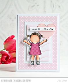 Simple By Design Joy Taylor, Cloud Stencil, Valentine Love Cards, Pink Cards, Kids Birthday Cards, Mft Stamps, Over The Rainbow, Copics, Clear Stamps