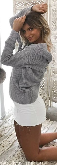 #summer #outfits Grey Knit + White Denim Skirt