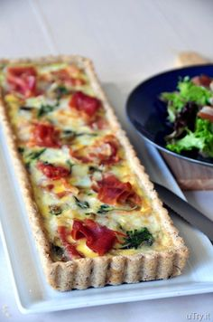 Spinach, brie and prosciutto tart with pecan crust - this is a wonderful entree for brunch - serve with a side salad