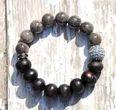 Two Tone Brown Wood & Grey Agate Gemstone Bead por BeadRustic