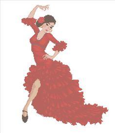 Flamingo dancer x-stitch Cross Stitch Patterns, Crochet Patterns, Hand Craft Work, Flamenco Dancers, Cross Stitching, Handicraft, Embroidery Stitches, Needlepoint, Needlework