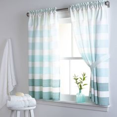 product image for DKNY Highline Stripe 38-Inch x 45-Inch Cotton Window Curtain Panel Pair