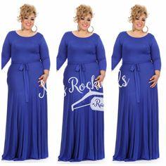 Boutique Dress 2X3X Blue Royal Black 3/4 Sleeve Tie Waist Solid Color Maxi Dress #Boutique #Maxi #Casual