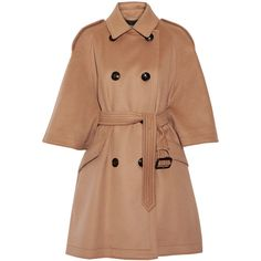 BurberryWool And Cashmere-blend Coat (€2.140) ❤ liked on Polyvore featuring outerwear, coats, camel, trench coats, cashmere blend coat, camel trench coat, double-breasted trench coat and camel double breasted coat