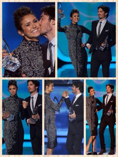 Nina Dobrev & Ian Somerhalder  The Vampire Diaries' Nina and Ian looked pleased as punch to pick up an award for their hit vamp TV show. The two scooped the Favourite On-Screen Chemistry gong which we guess is no surprise, given that they actually used to date in real-life!